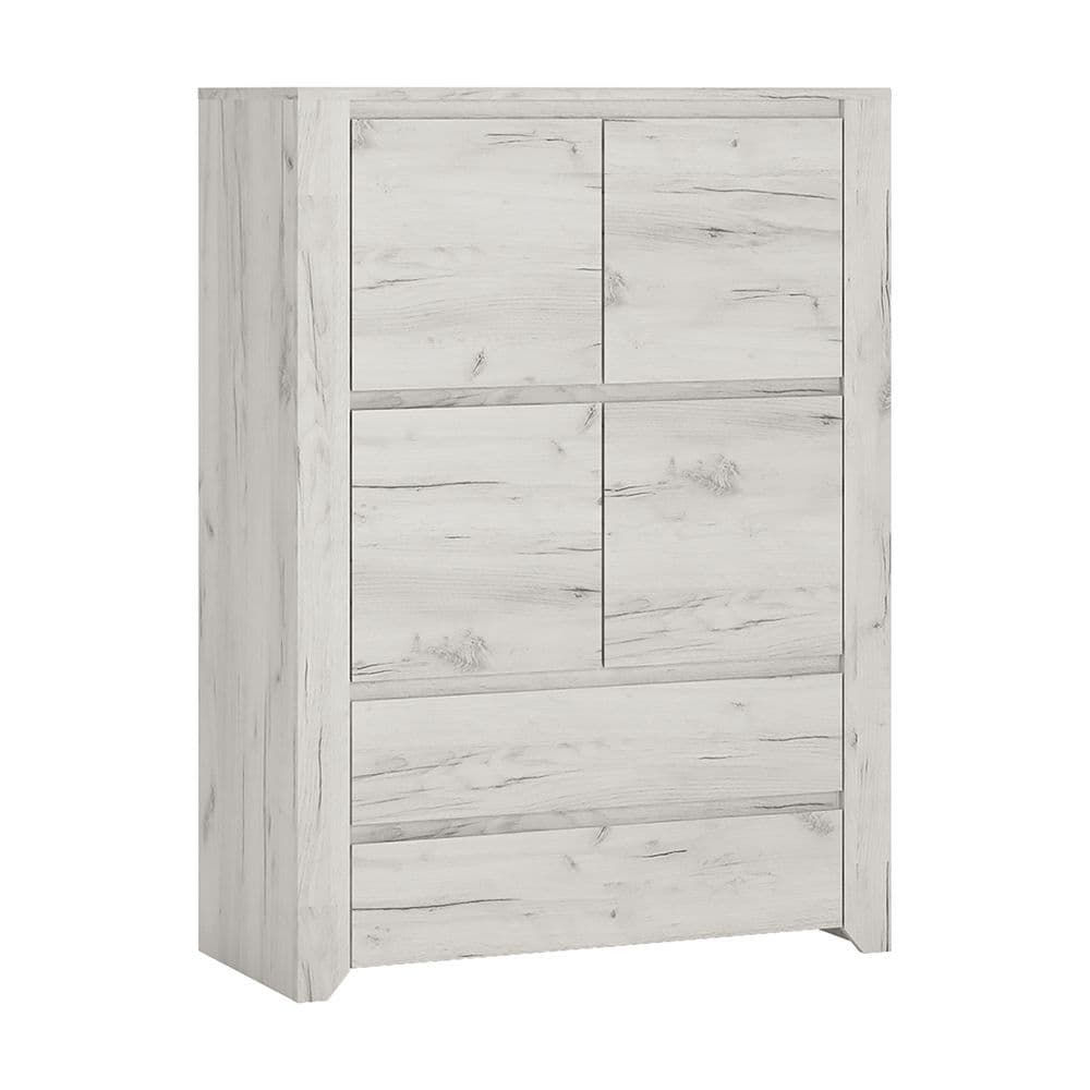 Argon 4 Door 2 Drawer Cupboard in White Craft Oak